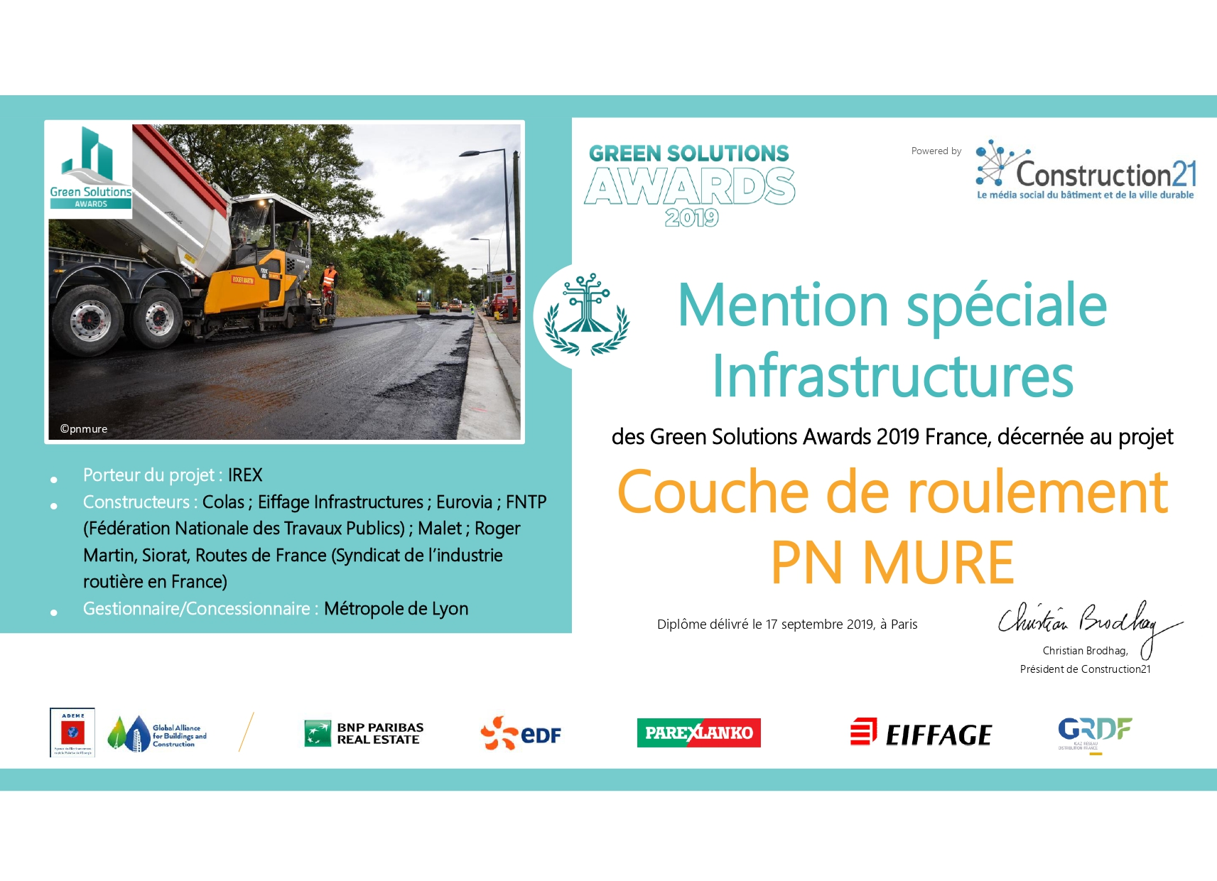 Le projet national MURE lauréat des Green Solutions Awards